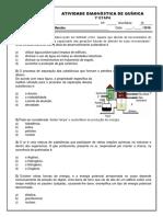 Marista - Química - 9ºAno - 1ª Etapa - Avaliação Diagnóstica