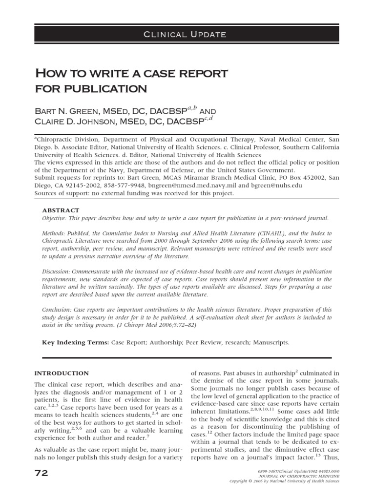 How To Write A Case Report For Publication PDF  Case Report