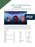 Prediksi Milan vs Arsenal Piala Dunia Russia 2018