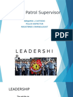 Duties of Patrol Supervisor