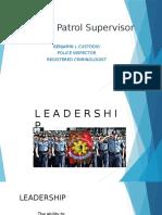 Duties of Patrol Supervisor