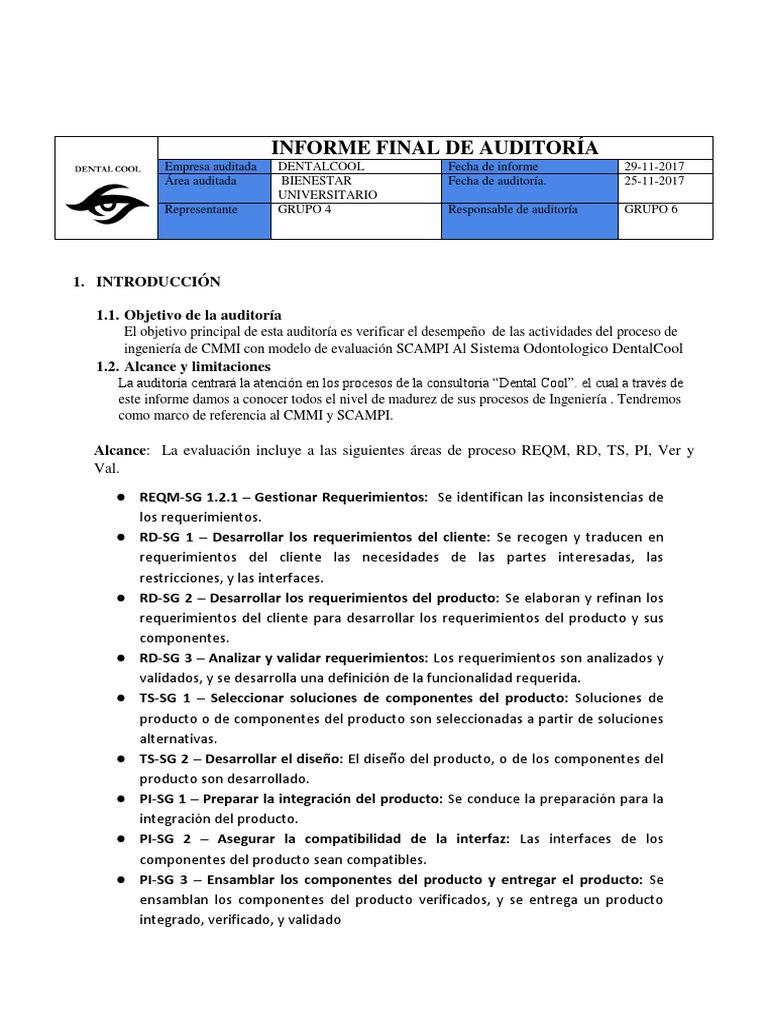 Plantilla Informe Final de Auditoria de Sistemas