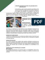 Clasificación de La Industria Nacional de Acuerdo a Los Principios de La Administración