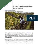 Regimen de Trabajo Agrario - Modalidades de Contratacion Permanente