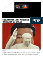 China Pushes Race Based Narcissistic Nationalism