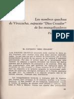 Pierre Duviols - Los Nombres Quechua de Viracocha, Supuesto Dios Creador de Los Evangelizadores