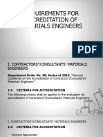 Requirements for Accreditation of Materials Engineers