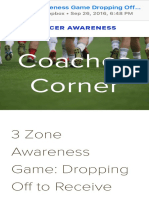 3 Zone Awareness Game Dropping Off to Receive and Turn in Possession — Soccer Awareness