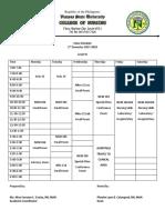 Class Schedule 2nd Sem 2017-2018