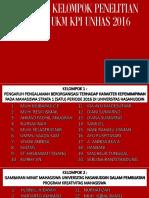 Pembagian Kelompok Penelitian Lembaga Ukm Kpi Unhas 2016