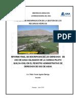Informe de Sistematización de Información de Recursos Hídricos de la Cuenca Quilca Vitor Chili por Encargo del Proyecto de Modernización de los Recursos Hídricos