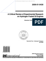 A Critical Review of Experimental Research on Hydrogen Fueled SI Engines