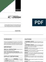Icom IC-2100H Instruction Manual