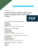 Test Engleza 2016