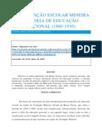 A Legislação Escolar Mineira e a Ideia de Educação Nacional