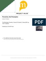 Prevention, Not Preemptive - Freedman