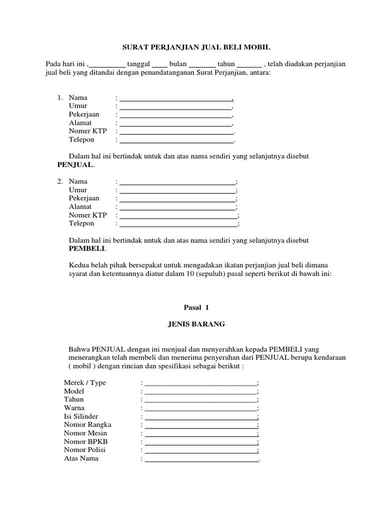 Surat Perjanjian Jual Beli Mobil