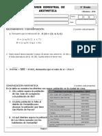 Examen Bimestral de Aritmetica 6to Grado