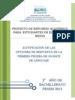 Justificación de las Opciones de Respuesta de la Primera Prueba de Avance de Lenguaje – Segundo Año de Bachillerato  (PRAEM 2013).pdf