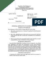 Agatha Complaint Affidavit