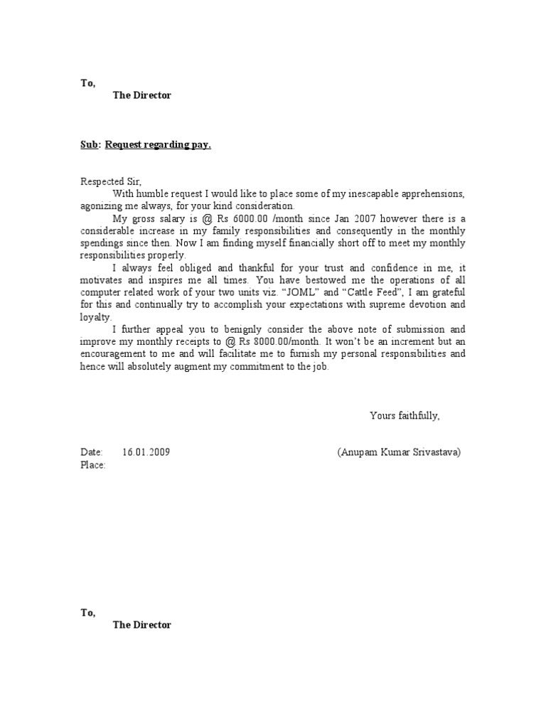 Increment Letter 1 – Request Letter for Salary Increment