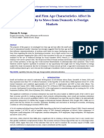 How Firm Size and Firm Age Characteristics Affect its StrategicAbility to Move from Domestic to Foreign Markets
