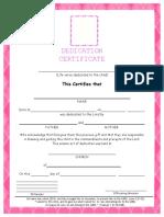 Certificate of Dedication
