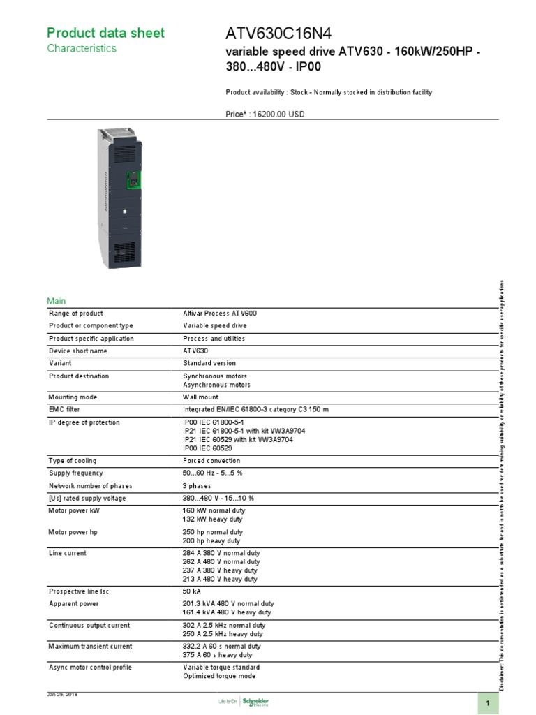 Altivar Process 630 Variable Frequency Drives Vfd Atv630c16n4 Crompton Dol Wiring Diagram Relay Programmable Logic Controller