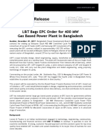 2017 11 29 Lt Bags Epc Order for 400 Mw Gas Based Power Plant in Bangladesh