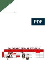 Calendário escolar ano letivo 2017-2018 tema piratas
