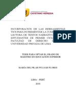 Incorporación de Las Herramientas TICS Para Incrementar La Comprensión Lectora de Textos Narrativos en Los Estudiantes de Primer Ciclo de La Facultad de Derecho de Una Universidad Privada de Lima