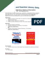 Lesson 7 - Adjectives- Masters of Description Lesson Plan