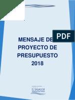 Mensaje del Proyecto del presupuesto 2018 El Salvador