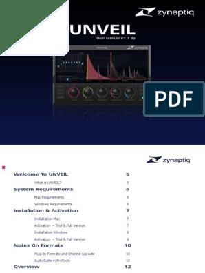 Zynaptiq UNVEIL Manual | Sound | Mac Os