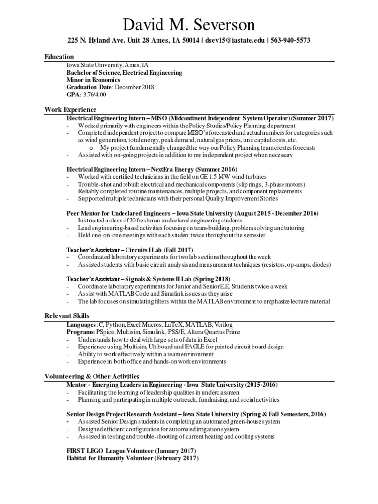Fancy Wind Energy Resume In Iowa Mold - Best Resume Examples by ...