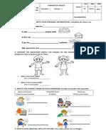 Examen Primer Corte - Inglés 2°