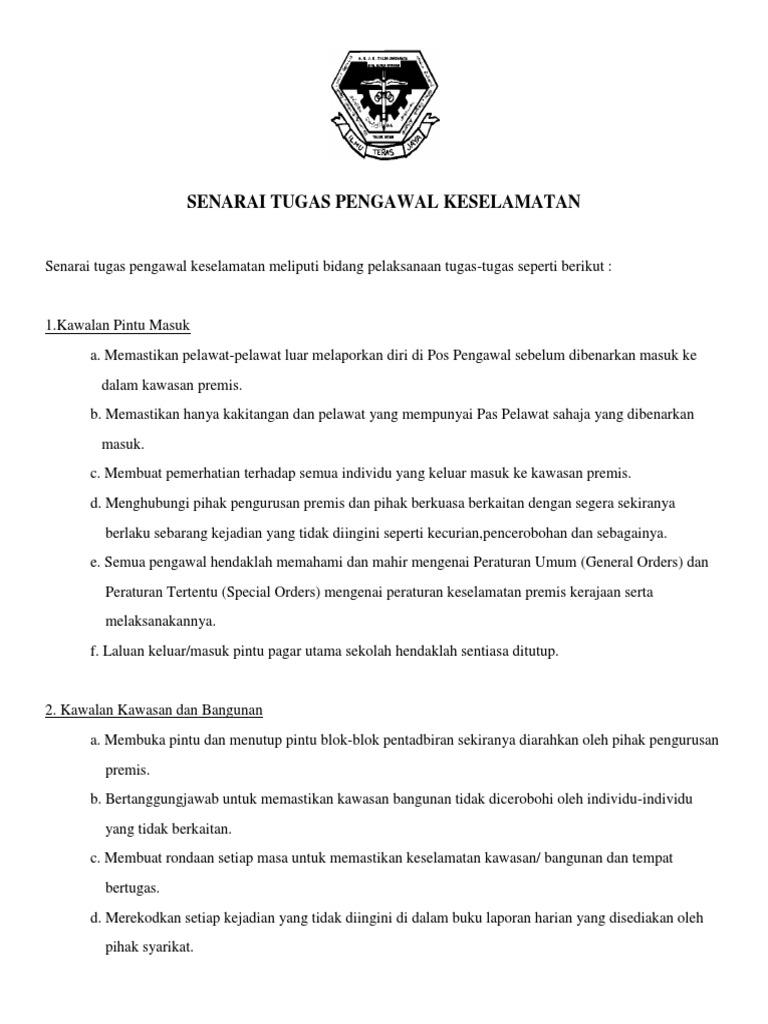 Senarai Tugas Pengawal Keselamatan