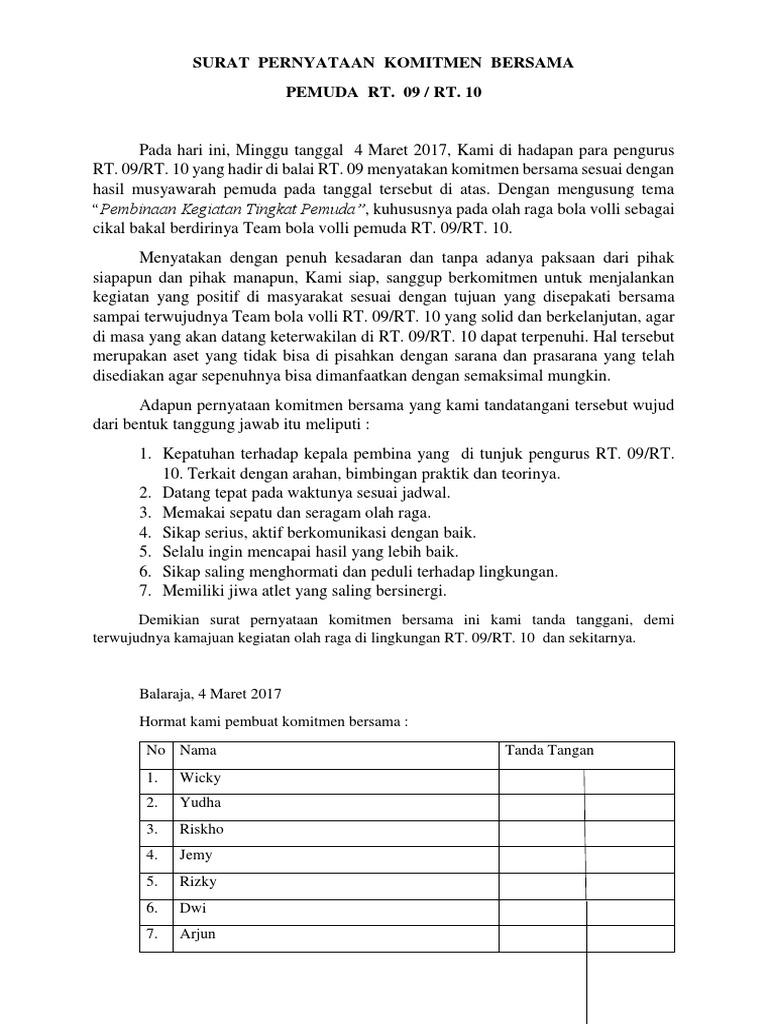 347498802 Surat Pernyataan Komitmen Bersama Docxdocx