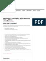 Hindi-Urdu Controversy 1867 - Pakistan History MCQS - Pakistan _The Land of Pure