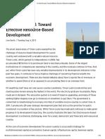 On Solid Ground Toward Effective Resource-Based Development 1