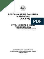 Rencana Kerja Tahunan Madrasah (Rktm) Mts. Negeri 3 Kota Tasikmalaya