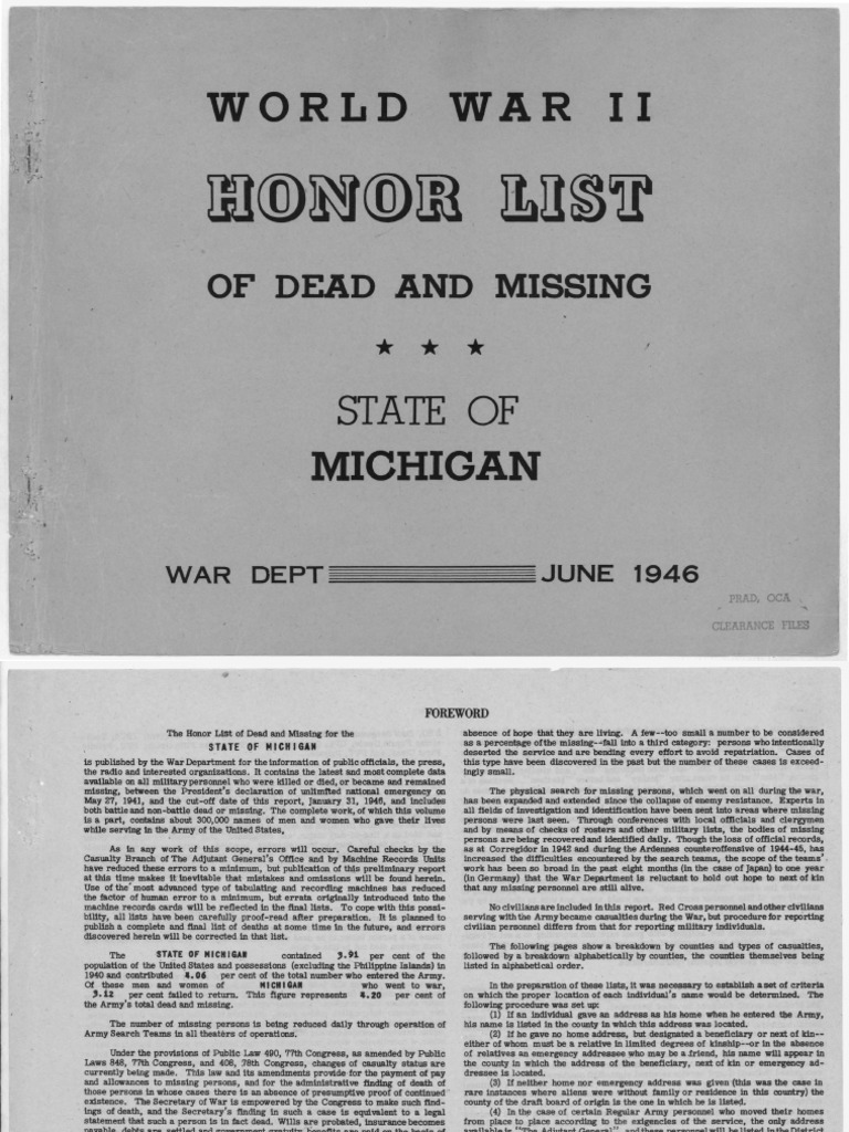 WWII Army Honor List - Michigan   Officer (Armed Forces)   Sergeant