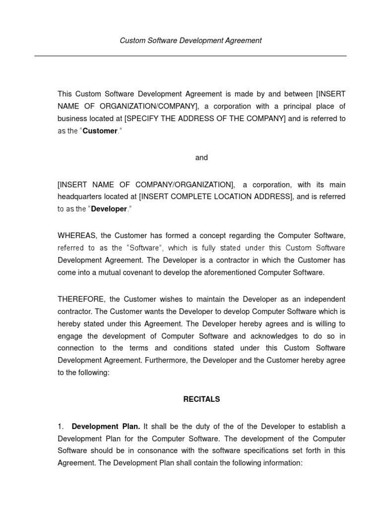 Custom Software Development Agreement Software Development