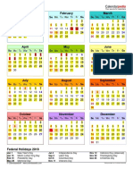 2018 Calendar Portrait Year at a Glance in Color