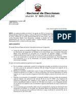 Resolución No. 869-2010-JNE (Kouri)