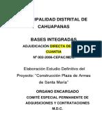 BASES INTEGRADAS Elaboración Estudio Definitivo Del Proyecto_Construcción Plaza de Armas de Santa María