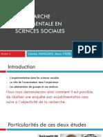 La Demarche Experimentale en Sciences Sociales