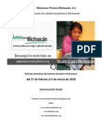 Síntesis Educativa Semanal de Michoacán al 5 de marzo de 2018