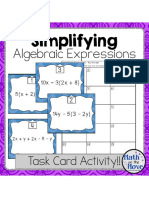 Simplifying Algebraic Expressions Task Card Activity Scoot
