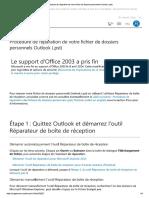 Procédure de Réparation de Votre Fichier de Dossiers Personnels Outlook (.Pst)
